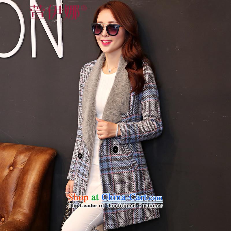 Xuan ina 2015 autumn and winter coats gross new female Korean?   in long chidori lapel of wild stylish long-sleeved jacket female MSY628 gross? light blue checkeredL