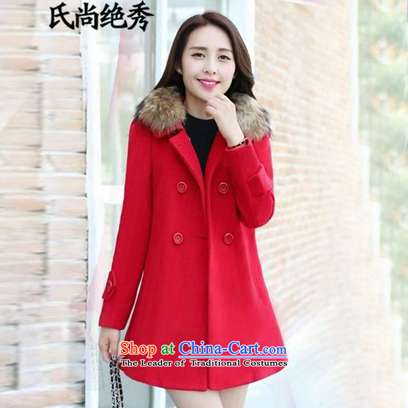 _No-soo2015 autumn is the new version on the Nagymaros collar workers in Korea long double-video thin stylish girl coats gross? jacket female1809RedL