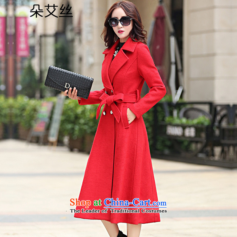 The latte macchiato HIV/wool coat women 2015 will fall and winter load new-long strap coats video thin thick hair beauty? jacket female wool a wool coat RED M