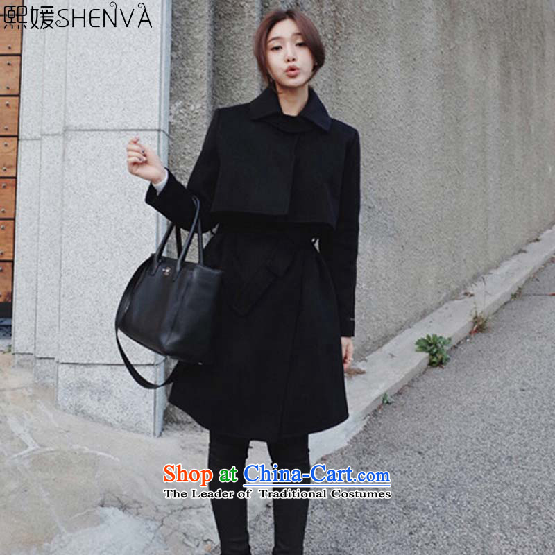 Barbie autumn and winter 2015 new temperament Sau San video thin hair? girls jacket long foutune tether a wool coat 111 Black燬