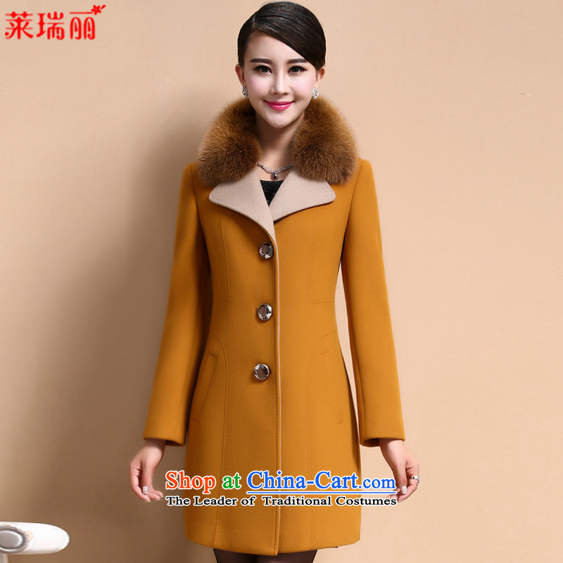Gloria Ruili燱inter 2015 new products in long hair? 8009 yellow jacket coat燣