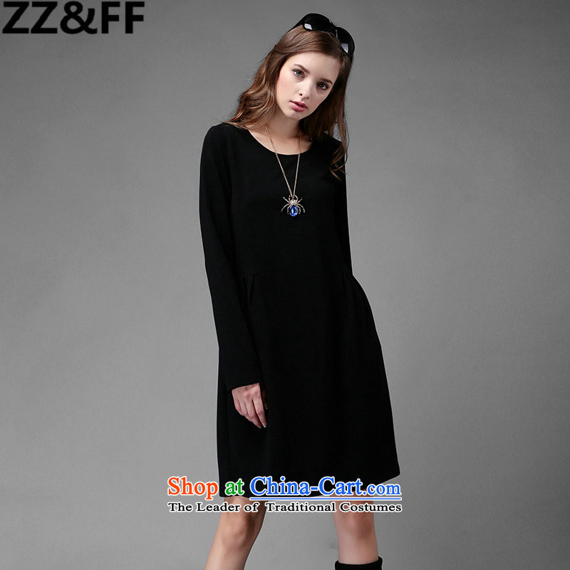 2015 Autumn new Zz_ff larger women's dresses thick MM THIN in the Video   long long-sleeved black XXXXL Skirt Wear