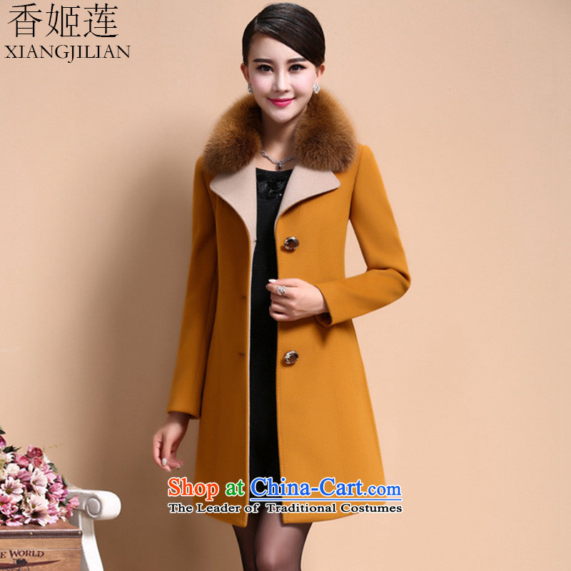 Heung-hee-lin 2015 new Korean version of Sau San female a wool coat 9015 Yellow XL