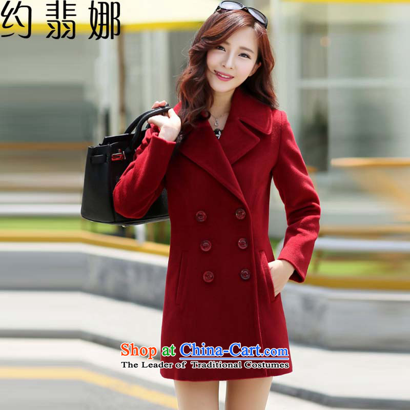 The cashmere cloak about desecrated by the autumn of 2015, replacing the new Korean version of Sau San video thin double-jacket female聽6,698 cluster bomb sub gross?聽wine red聽XXL