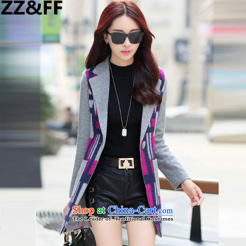 2015 Fall_Winter Collections Zz_ff New Sau San Mao jacket female Korean? In long coats of child tartan red?XL