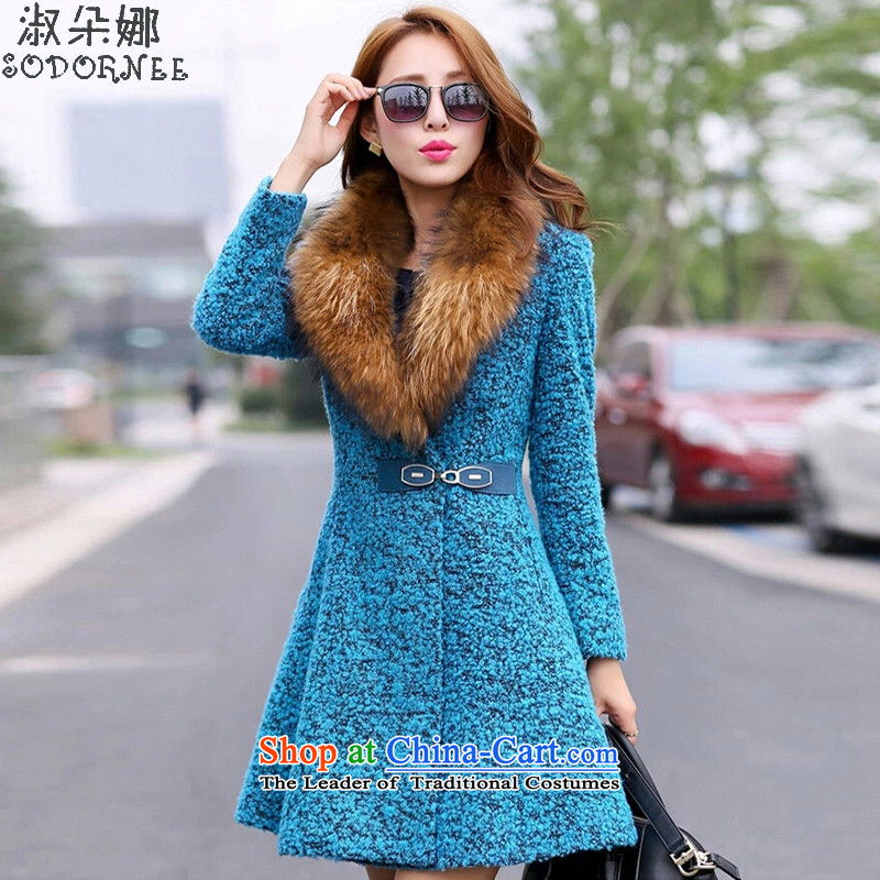 Mrs flower of 2015 autumn and winter new women's stylish Sau San Nagymaros collar gross coats?9609?Peacock Blue??L _equivalent to XL_