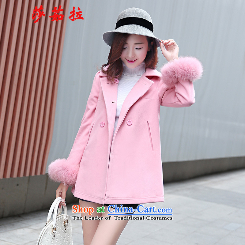 Elisabeth jula winter coats? 2015 gross new sweet high gross cloak-fox double-Sau San a wool coat female pink聽M