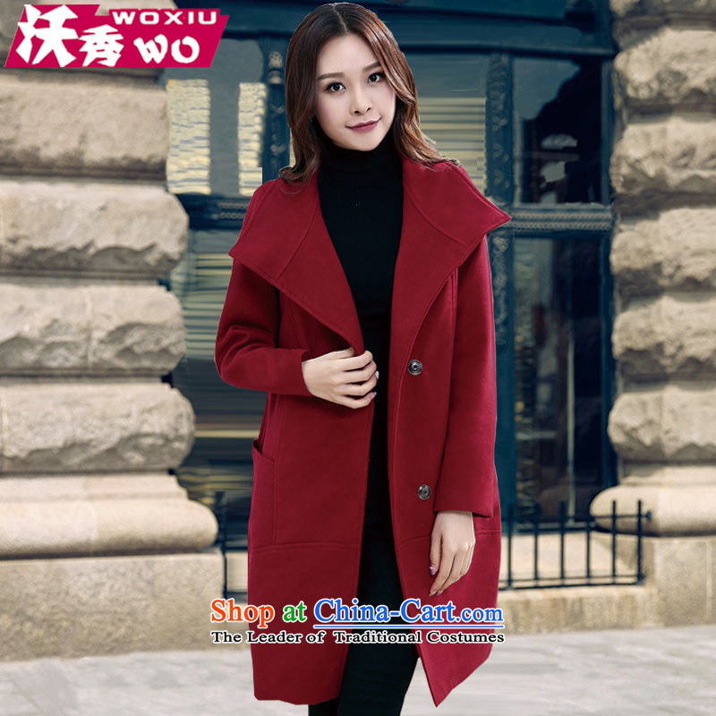 Sau 2015 autumn and winter Kosovo New Gross Gross mm thick about what cloak thick plus hypertrophy code women 1605 wine red XXL(160 catty catty -180)