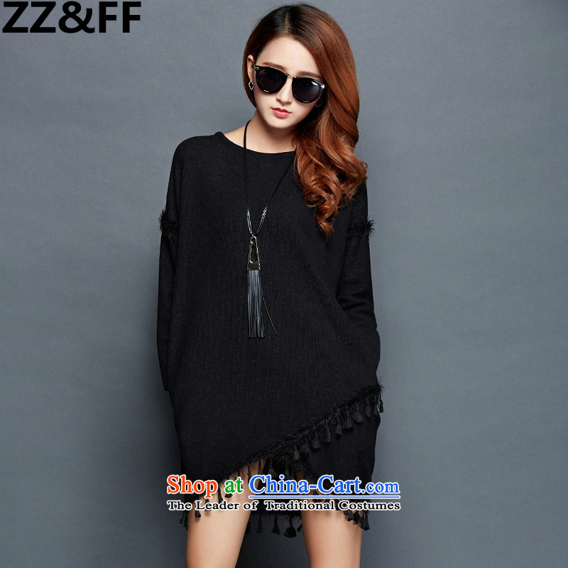 Large 2015 Zz_ff female thick mm autumn knitted dress lanterns edging long-sleeved loose video thin dresses new products XXXL black