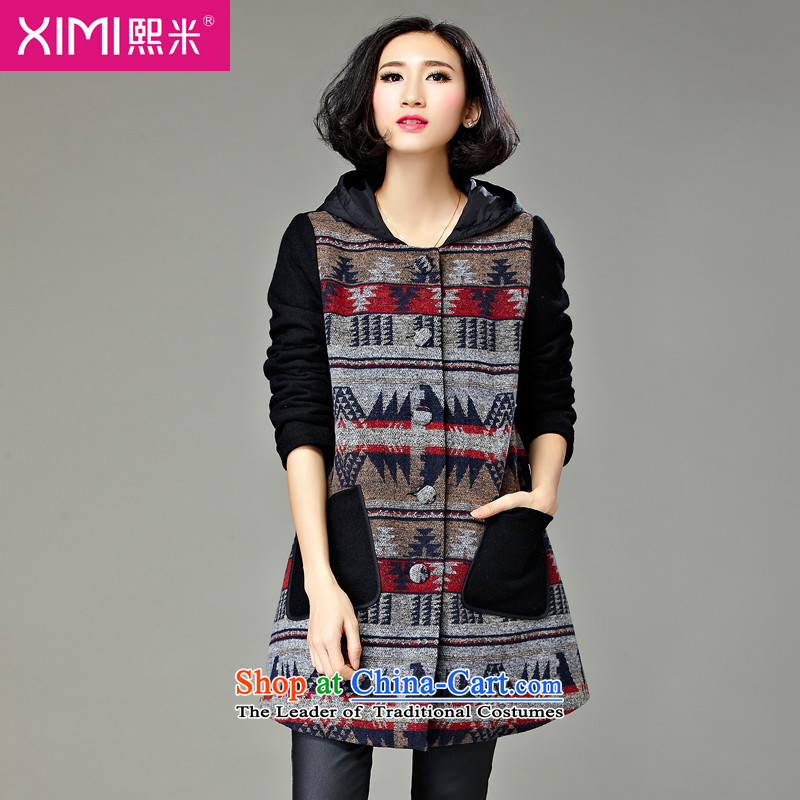 Hee-M to increase the number of female jackets for winter 2015 new product expertise MM thick, Hin thin sister_ Long Stylish retro autumn and winter coats, wool? map color2XL