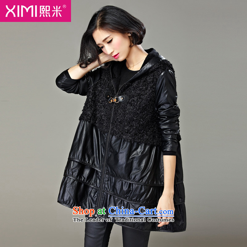 Hee-m to increase the number of female jackets for winter 2015 new product expertise mm thick, Hin thin sister of Western liberal in long long-sleeved jacket for autumn and winter by Ms. 3XL black