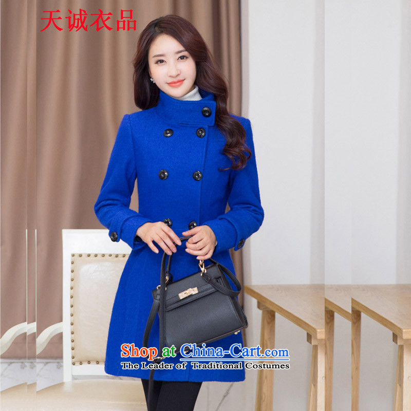 Tian Cheng Yi products to xl thick hair, long jacket? for women 2015 autumn and winter New Sau San video thin wool a wool coat thick blue 2XL(146-165 mm Weight)