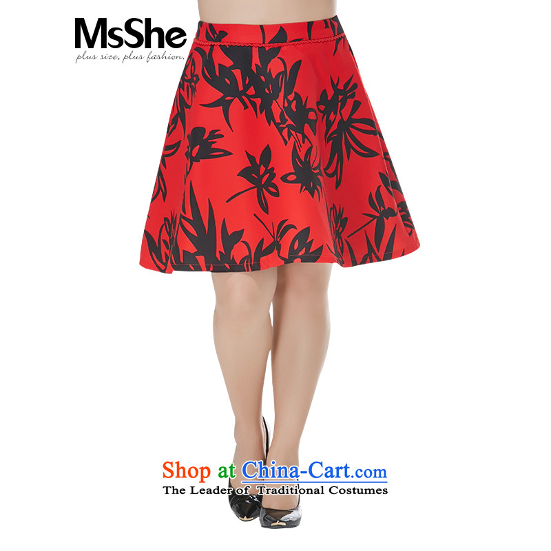 To increase the number msshe women 2015 new autumn and winter in the burden of the waist 200 short skirts stamp body petticoat skirt red bottom black flower 10686 S0210 Instument?T6