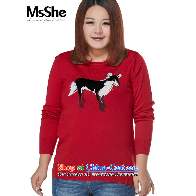 Msshe xl women 2015 New Fall_Winter Collections thick MM round-neck collar cartoon jacquard sweater pullovers5XL 7873 Red