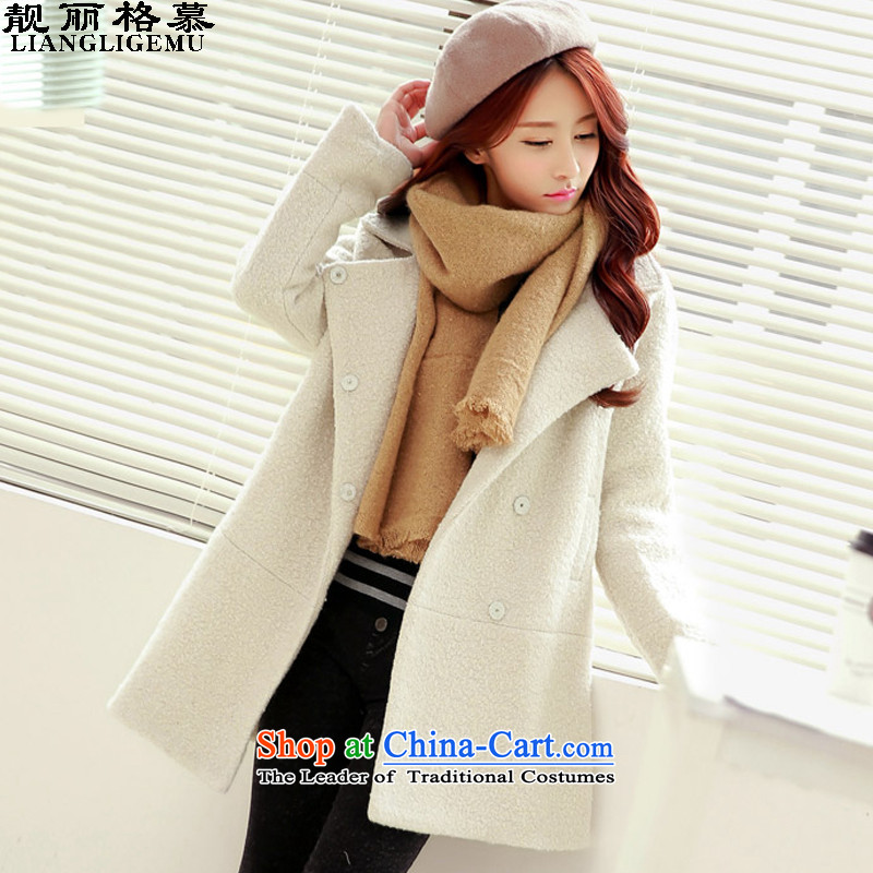 The beautiful, 2015 Fall_Winter Collections new coats of ladies hair? Korean wild?1019meters female white jacketXS- WEAR M to choose from