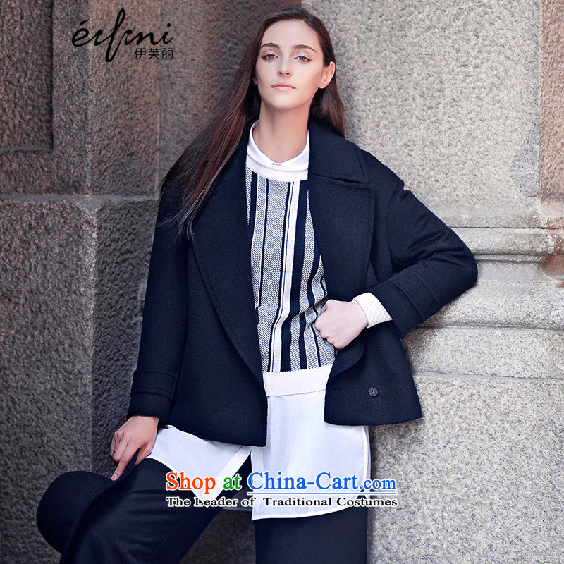 El Boothroyd 2015 winter clothing new roll collar short of a female jacket? wool coat 6581017150 short navy blue L