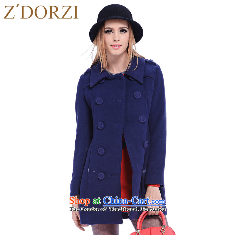 Zdorzi_ colorful Cheuk-yan Cheuk colorful winter new minimalist double-long-sleeved jacket is     Gross 928422 deep blueS