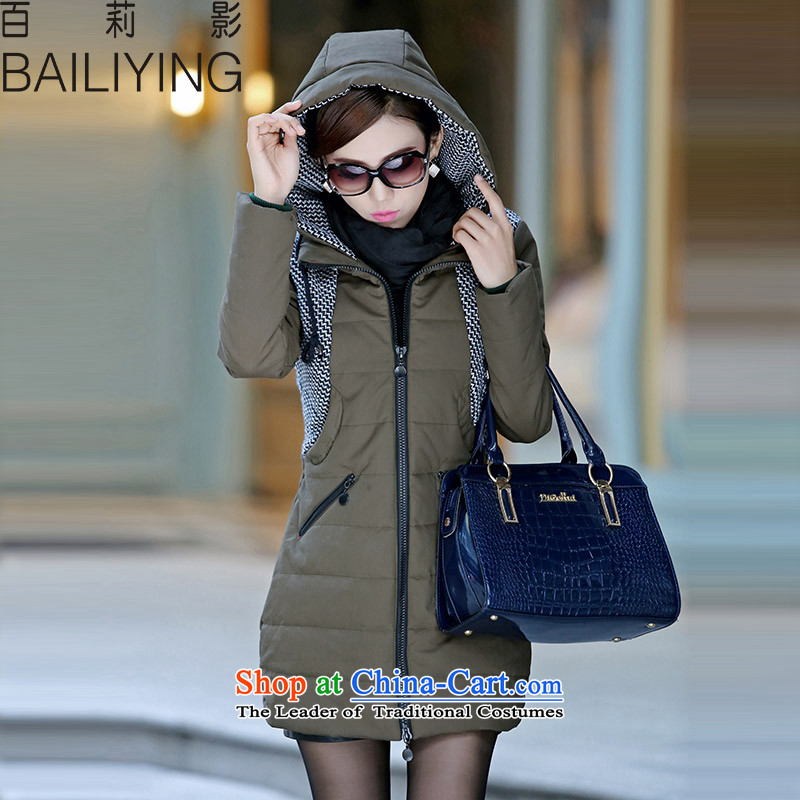 Hundred Li Ying�15 winter coat in the new Large long cotton coat cap Ms. Loose video thin stripes jacket warm female army green�L- usually it will burden the recommendations