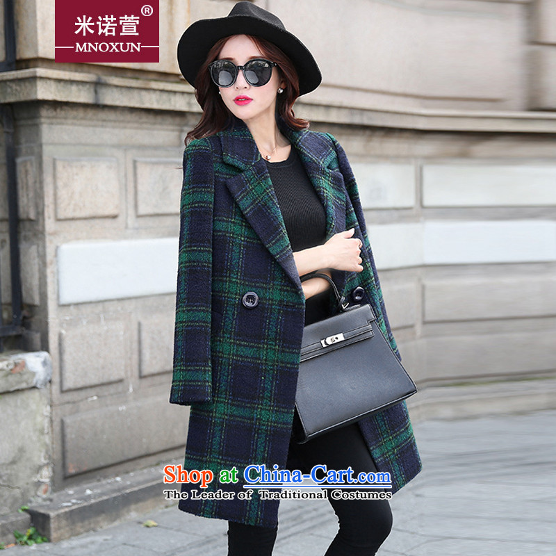 Mineau Xuan 2015 autumn and winter new grid jacket K369_ gross? The Green GridXXL
