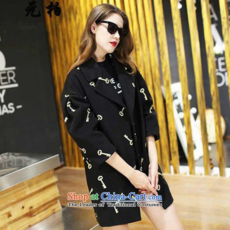 Large Park won the women's gross? the new autumn and winter coats thick MM loose embroidery a wool coat to intensify the black 2133 4XL around 922.747 paragraphs 165-175 under