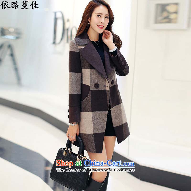 According to Xu Jialu Overgrown Tomb better 2015 Women's winter clothing Korean stylish large segments of the Sau San coats coats coffee grid gross?燲L