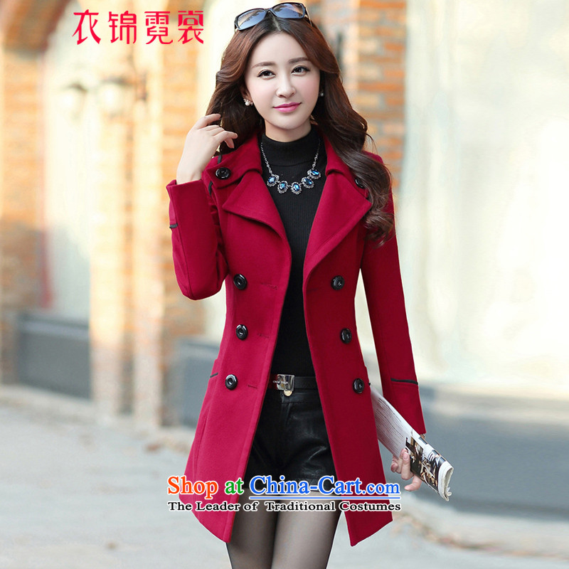 Yi Jin Tysan聽2015 Fall_Winter Collections new coats, wool? Long Korean jacket wine red聽M
