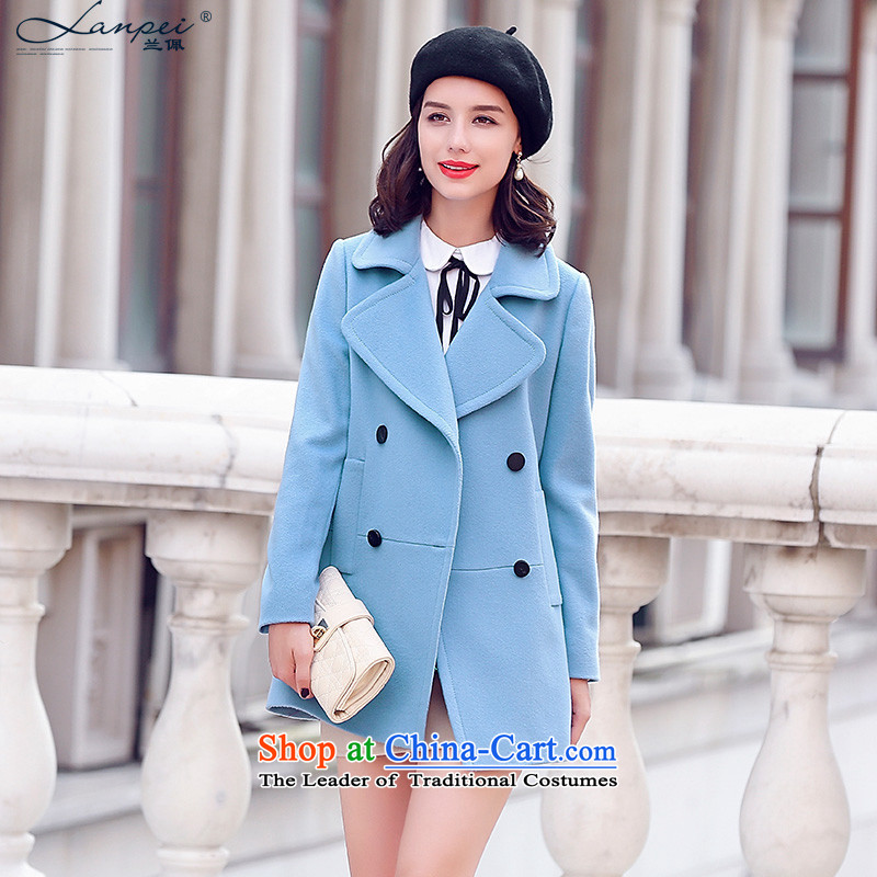Ho Pui 21015, Battawin autumn new double-suit washable wool a wool coat in the long hair Ms.? jacket light blue聽M