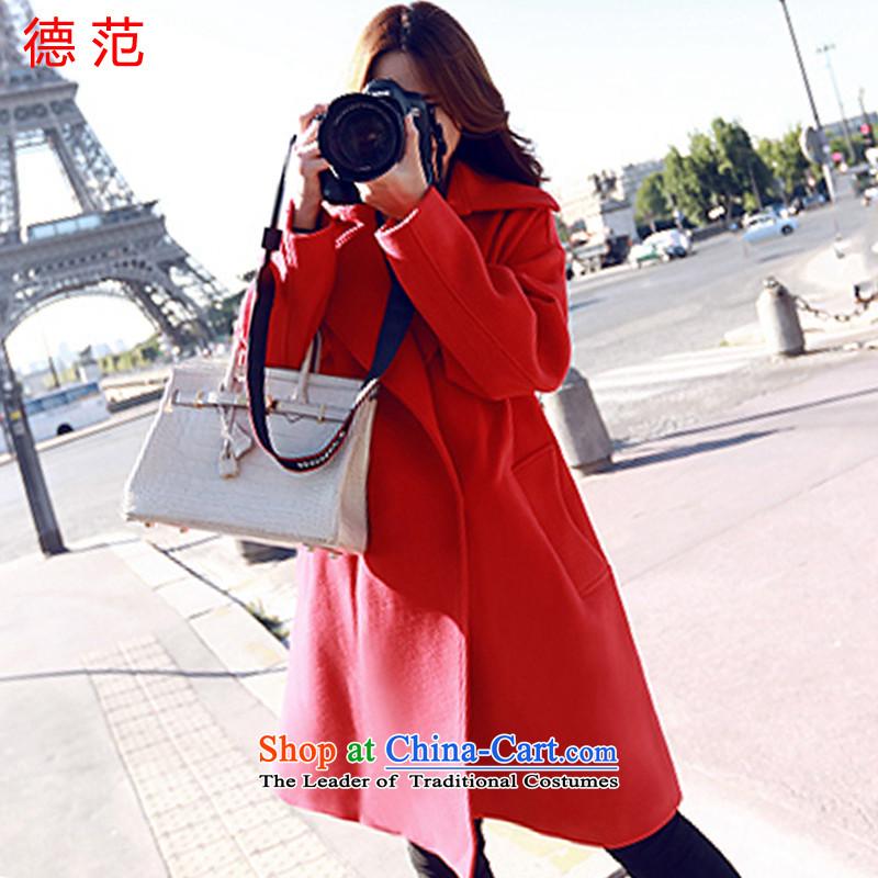 Van de 2015 Fall_Winter Collections Of new women's fashion, Korean women in gross? coats long jacket, a wool coat red燬