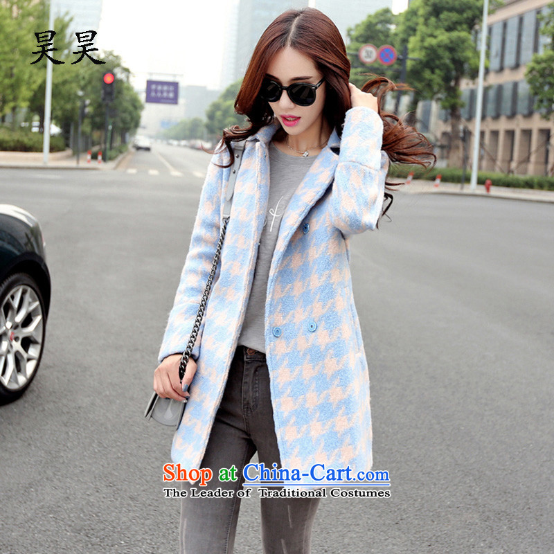 Ho ho�15 autumn and winter coats? New gross in long Korean women who are thin coat of video gross? light blue燤