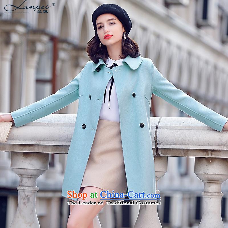 Estimated 2015 Autumn Load New Pei, temperament gentlewoman duplex woolen coat girl in long wool a wool coat jacket light blueM