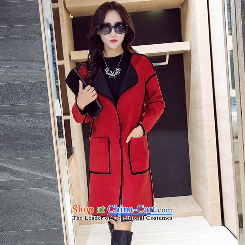 Arthur magic yi聽2015 Fall_Winter Collections new larger women's gross Ms. coats Korean? In long thin a jacket video female RED聽 M