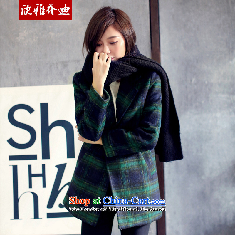 Yan Nga Jodie 2015 autumn and winter new Western-style suit for England wind jacket? female latticed gross a wool coat College Green Grid wave?M