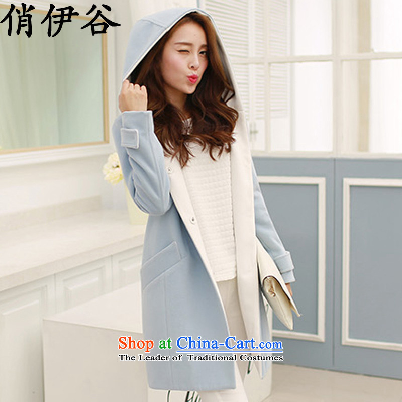For the 2015 autumn and winter valley for women Korean large Sau San Mao jacket? With cap a wool coat in the long hair? coats female light blue燣