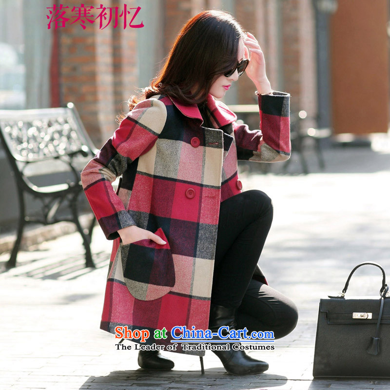 Recalling the Early Cold Fall 2015 autumn and winter coats new wool female jacket? Thin Korean version of video long XL CY151105 LATTICESL