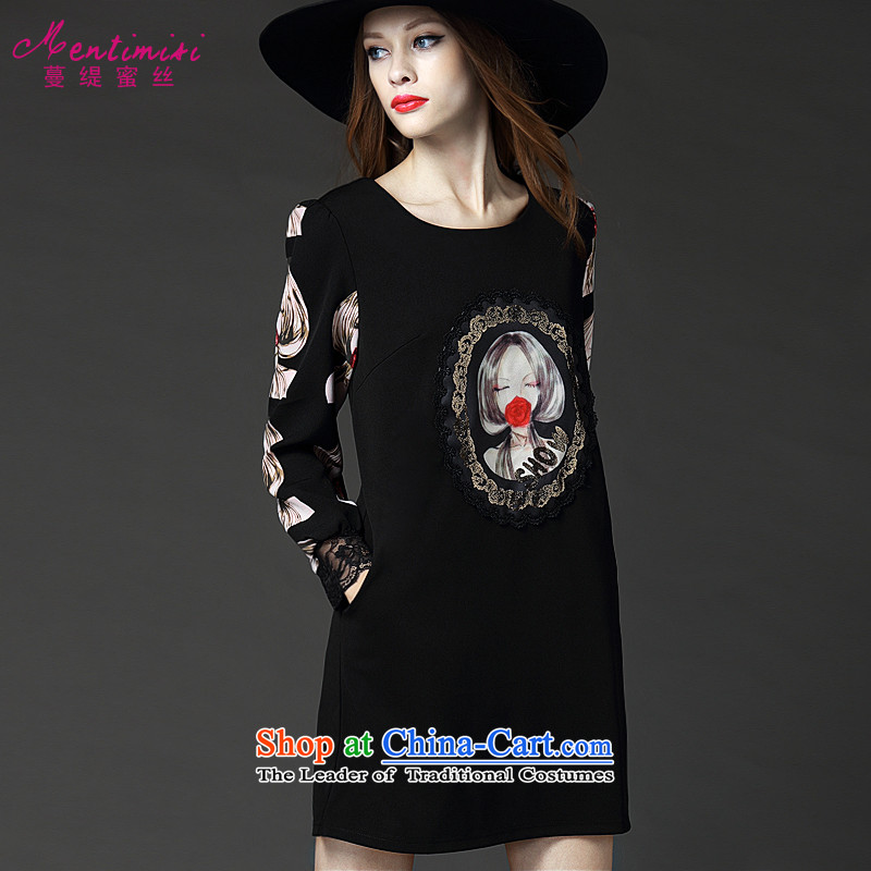 Overgrown Tomb economy honey silk EAPC code women Fall_Winter Collections slimming increases and the stamp lace spell a series of dresses?2535?Black Large XXL around 922.747 145