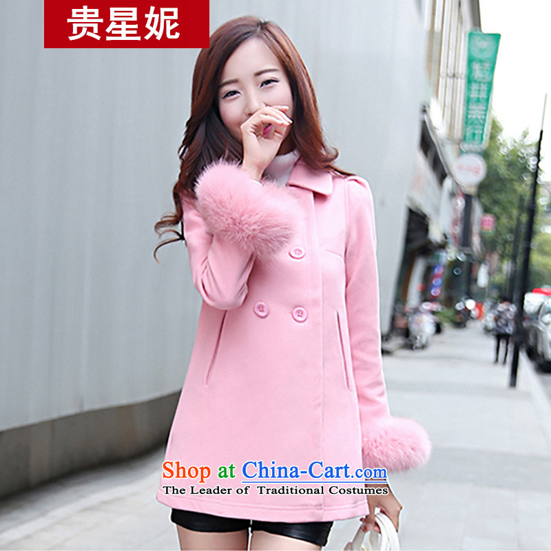 The Star Ni autumn and winter 2015 new gross female Korean jacket? Vogue Fox gross coats Maomao cuff Winter Female pink?M