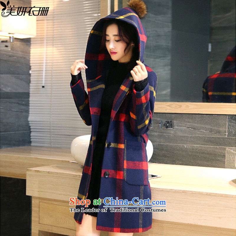 Mi-yeon Yi Shan聽2015 autumn and winter coats gross new female Korean? In long a checkered jacket Sau San Red yellow聽M