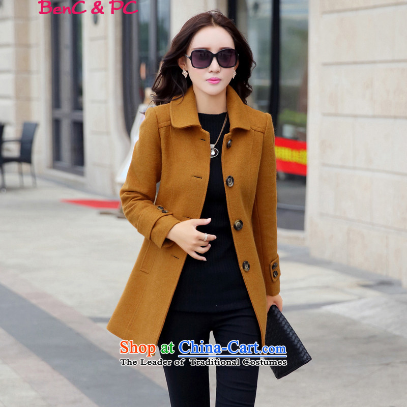 Yi of the Kingdom of the autumn and winter 2015 new larger version in Korea Sau San long wool coat jacket and women? color M