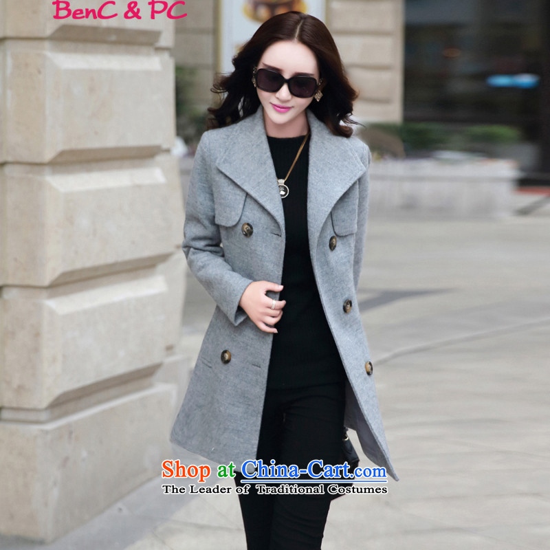 Yi of the Kingdom of 2015 autumn and winter)? a wool coat in the jacket? long hair)? coats larger female new gray XL