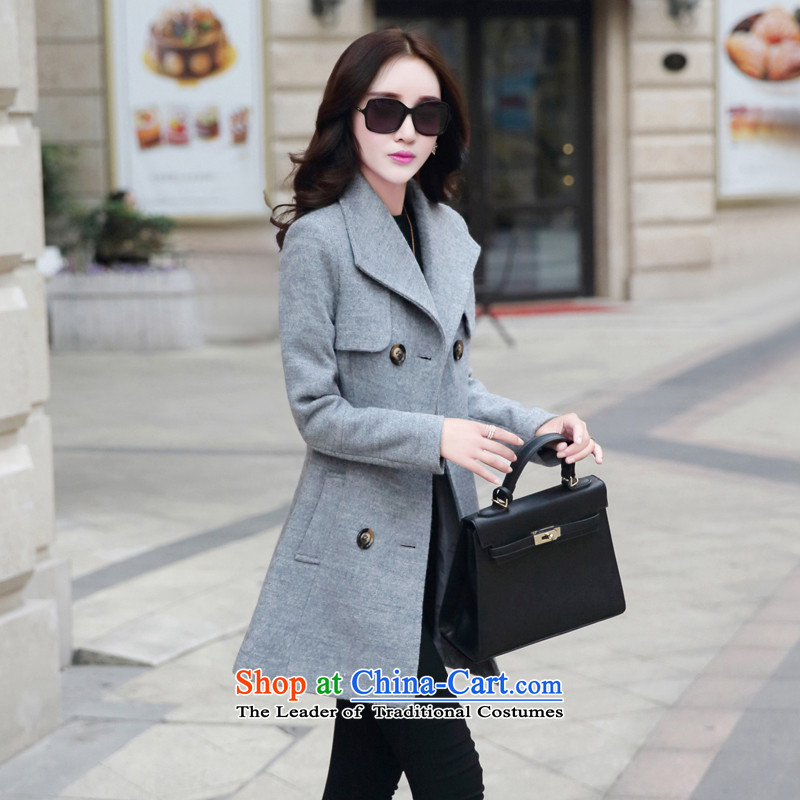 Yi of the Kingdom of 2015 autumn and winter)? a wool coat in the jacket? long hair)? coats larger female new gray聽XL, and Asia (charm charm of Bali shopping on the Internet has been pressed.