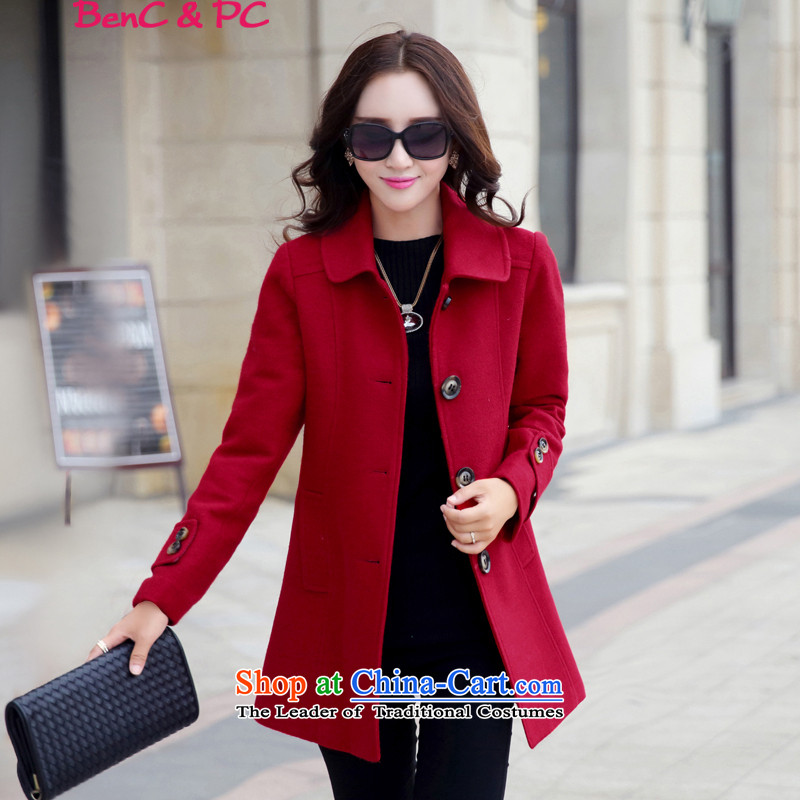 Yi of the Kingdom of the autumn and winter 2015 new larger version in Korea Sau San long wool coat female red cloak?聽XXL