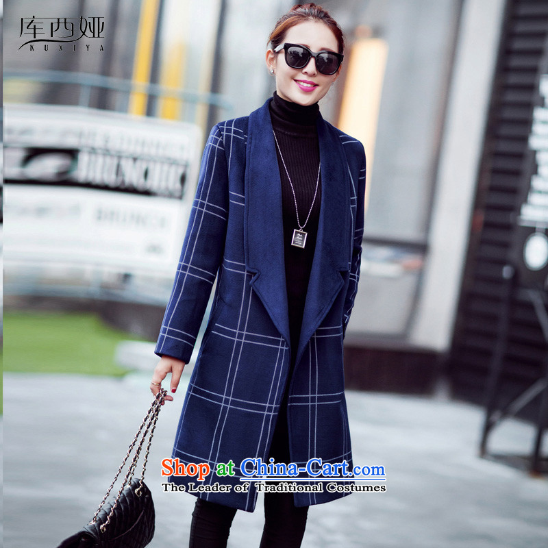 Library sija flagship store 2015 fashion new Korean lapel latticed European webmaster gross? ladies coats tourism temperament jacket female navy燤