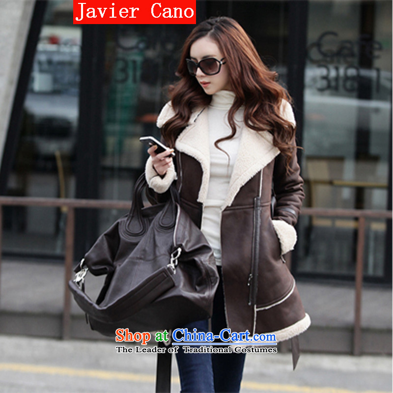 Javier cano 2015 autumn and winter new Korean version of long-thick hair is caught in the leather jacket lint-free video thin hair so Sau San coats female coffee L