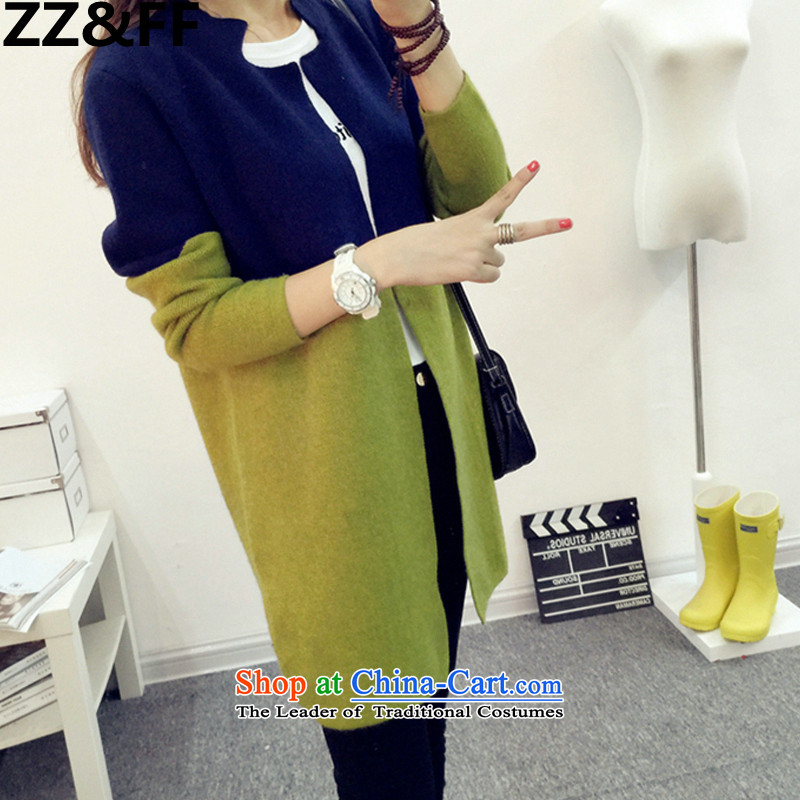In 2015, the centers sister Zz_ff long cardigan knitwear autumn and winter new to increase women's code thick mm sweater cardigan jacket Navy Blue + green XL