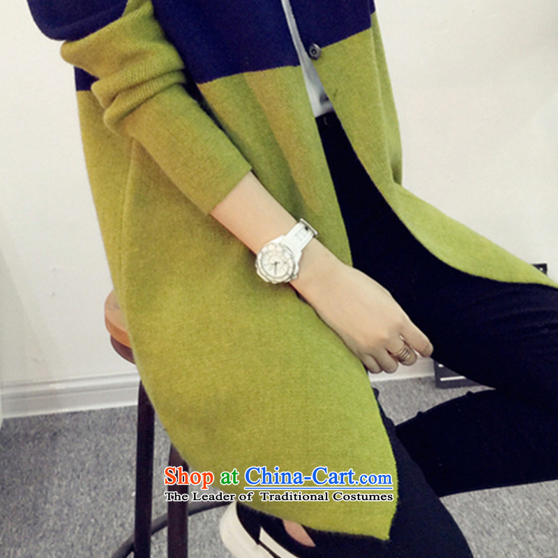 In 2015, the centers sister Zz&ff long cardigan knitwear autumn and winter new to increase women's code thick mm sweater cardigan jacket Navy Blue + green XL,ZZ&FF,,, shopping on the Internet