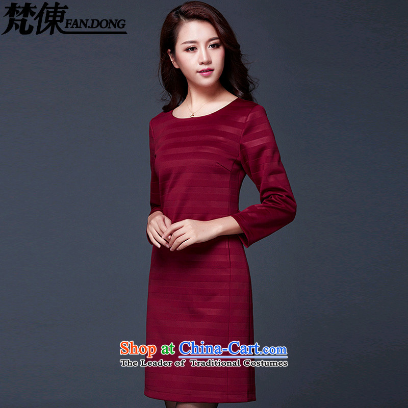 Van Gogh 倲 autumn 2015 Women's new Korean commuter Sau San OL temperament and stylish large career women's long-sleeved dresses X1016 wine red XL