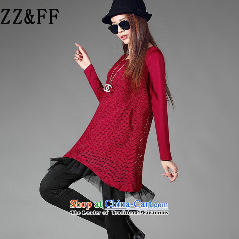 2015 Autumn and winter Zz_ff new Korean version thin engraving gauze leave two stitching long-sleeved T-shirt, forming the female wine red燲XXXL Shirt
