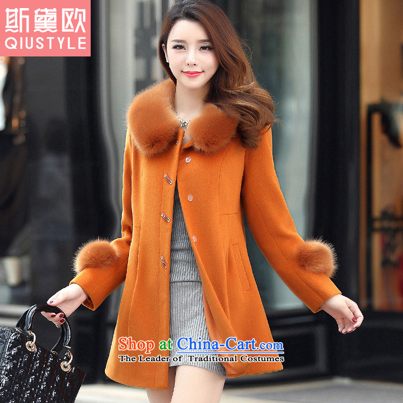 The Doi OSCE gross?2015 autumn and winter coats female new women in Korean long large thick a jacket female 51.7 BrownXL