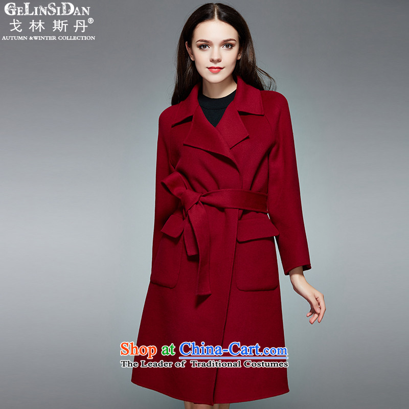 The Goring dan 2015 counters synchronization Western gross Stylish coat Sau San? Thin cashmere overcoat RD312 graphics  XL_105 Mauve