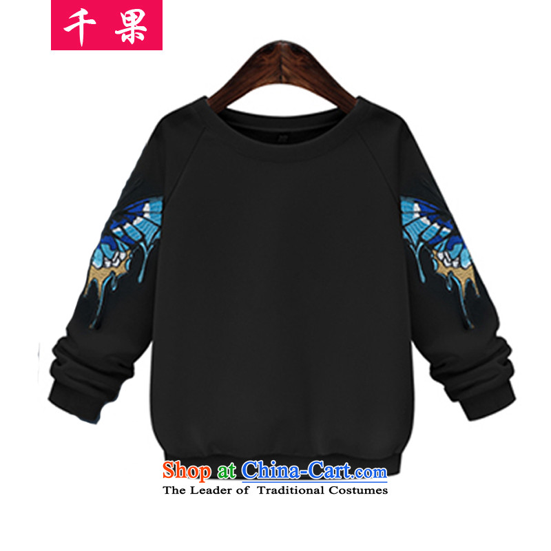 The results of the new Fall thousands of replacing to xl female jackets thick mm long-sleeved T-shirt butterfly embroidery t-shirt200 catties thick sister video thin sweater 364 Black4XL